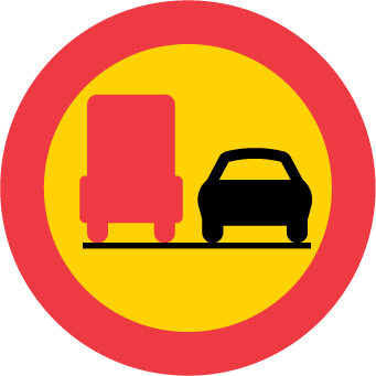 ممنوع التجاوز , للشاحنات الثقيلة