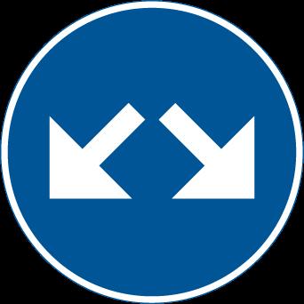 مسار السير من جهة اليمين او يسار السهم