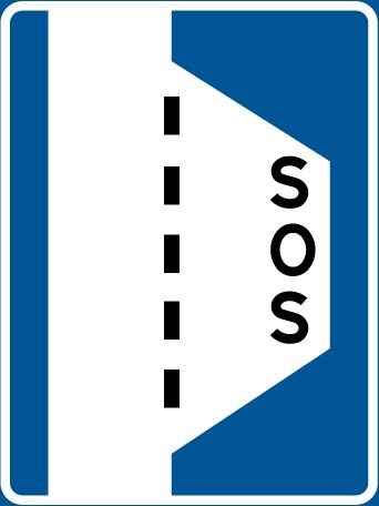 علامة المكان لتوقف العربات عند الاضطرار